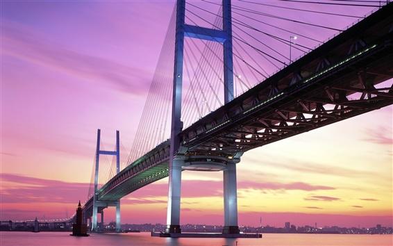 Fond d'écran Japon Yokohama pont, crépuscule