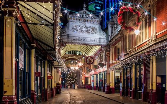 Papéis de Parede Londres, Inglaterra, cidade, noite, noite, rua, luzes