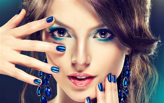 Обои Макияж девушка моды, синий стиль