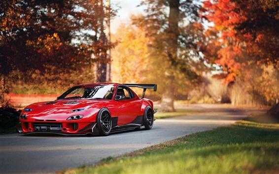 Wallpaper Mazda RX-7 red supercar, autumn