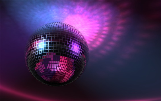 Wallpaper Music lights, Disco Ball, purple, 3D pictures