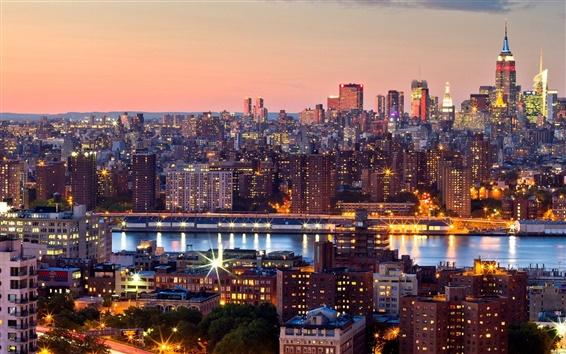 Wallpaper New York City, Manhattan, evening, sunset, skyscrapers, lights