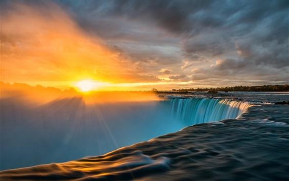 壁纸 尼亚加拉大瀑布,太阳光,日出,云彩