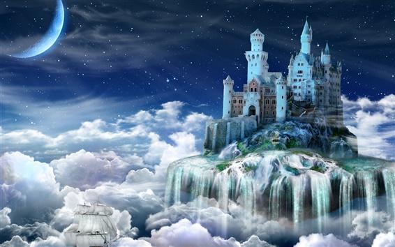 壁紙 夜、城、おとぎ話、雲、創造的なデザイン