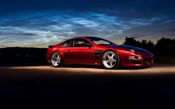 Wallpaper Nissan 300ZX red supercar, dusk, evening
