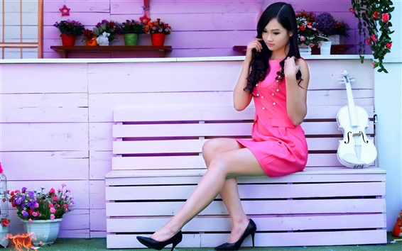 Wallpaper Pink dress girl, asian, violin, music, bench