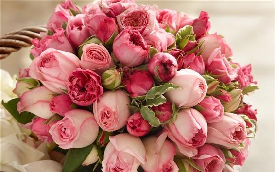 Wallpaper Pink rose flowers, beautiful bouquet