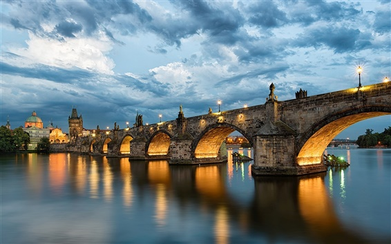 Wallpaper Prague, Charles Bridge, Czech Republic, river Vltava, evening, lights