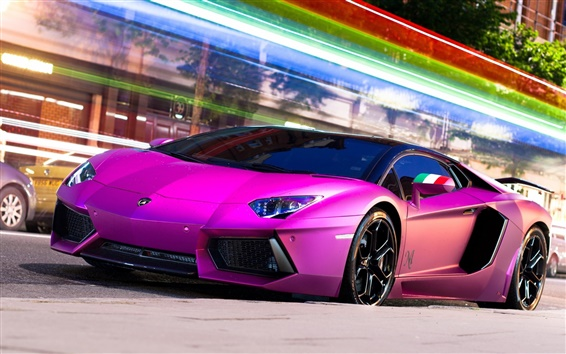 Wallpaper Purple Lamborghini Aventador LP700-4 supercar