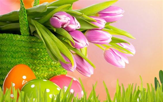 Обои Фиолетовые тюльпаны, Пасха, весна, корзина, яйца, трава