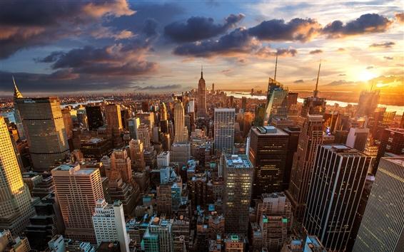 Wallpaper Rockefeller Center, skyscrapers, dawn, metropolis, New York City