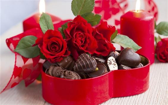 Обои Роза цветы букет, конфеты, шоколад