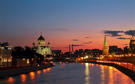 Wallpaper Russia, city, Moscow, river, sunset