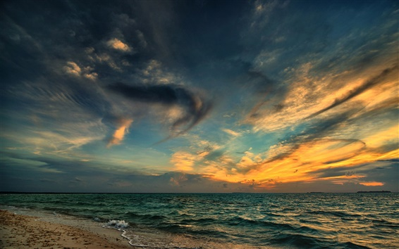 Wallpaper Sea, beach, night, sunset, clouds