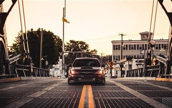 Wallpaper Subaru Impreza STI car, bridge, dusk