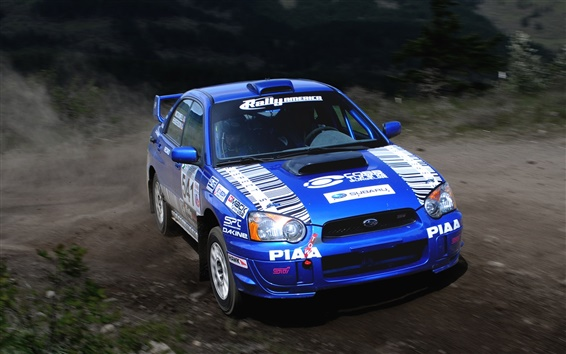 Wallpaper Subaru Impreza blue Rally sport car