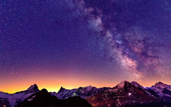 Wallpaper Switzerland, the Alps, beautiful night, sky, stars