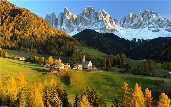 Wallpaper Switzerland, the Alps, mountains, hills, house, autumn
