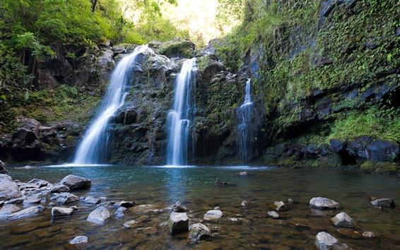 Wallpaper Triple waterfalls, Maui