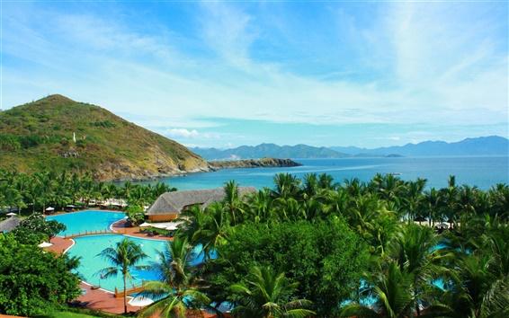 壁紙 熱帯地方の島、タイ、海、山、プール、自然、木