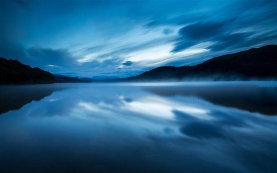 Wallpaper UK, England, nature reserve, lake, evening, water, mist, blue, sky, clouds
