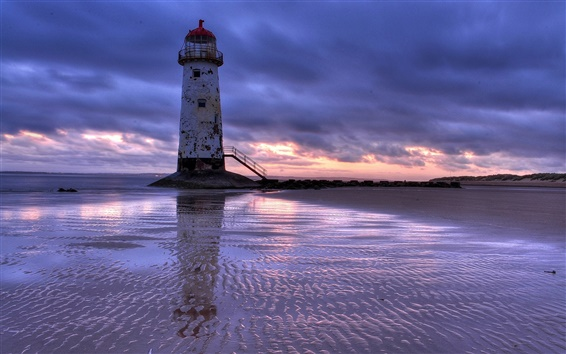 Wallpaper United Kingdom, Wales, lighthouse, sea, beach, evening, sunset, clouds