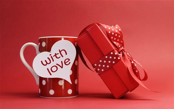 Fond d'écran Saint Valentin, le style rouge, tasse, cadeau, ruban, arc