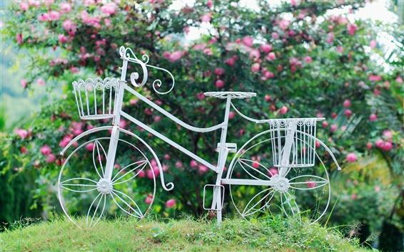 Wallpaper White bicycle, wheel, basket, flowers, grass