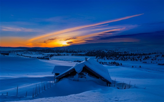 Fond d'écran Hiver, neige, montagnes, matin, bleu, lever de soleil, maison
