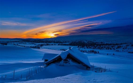 Wallpaper Winter, snow, mountains, morning, blue, sunrise, house
