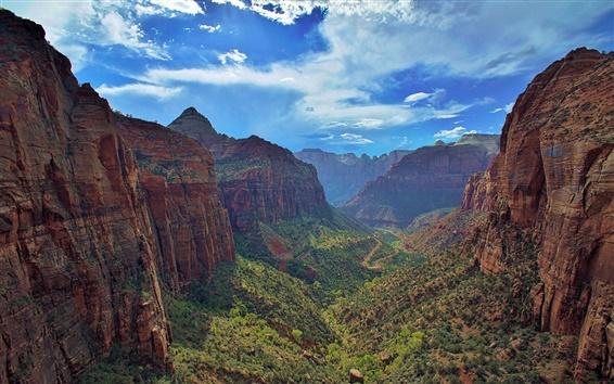 Fond d'écran Zion National Park, Utah, Zion Canyon, ciel bleu