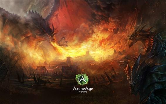 Fondos de pantalla ArcheAge, dragón, fuego, pueblo