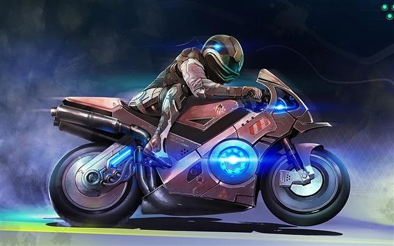 壁紙 アートデザイン、バイク、人物、速