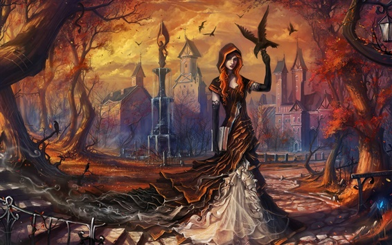 Wallpaper Art fantasy girl, autumn, trees, birds, crows, city, lamp
