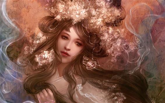 壁紙 アートファンタジー女の子、髪、花、顔、煙
