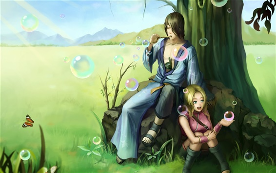 Wallpaper Art pictures, Naruto, girl with boy