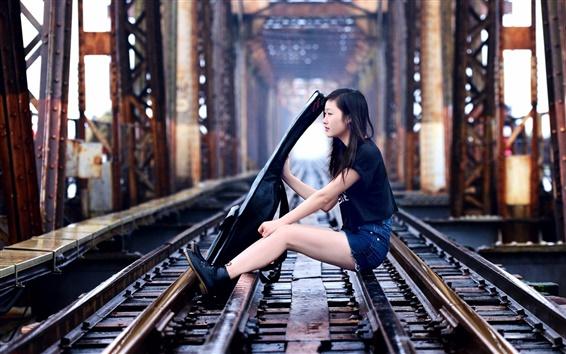 Wallpaper Asian girl, guitar, music, railroad, bridge