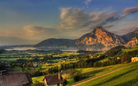 Обои Австрия, город, горы, скалы, река, лес, дом, утро