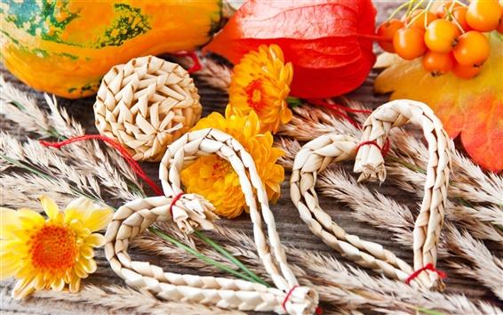 Wallpaper Autumn, heart, straw, vegetables, pumpkins, flowers