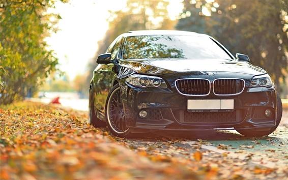Обои BMW 550 F10 черный автомобиль осенью