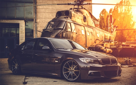 Wallpaper BMW E90 car, helicopter, sunset