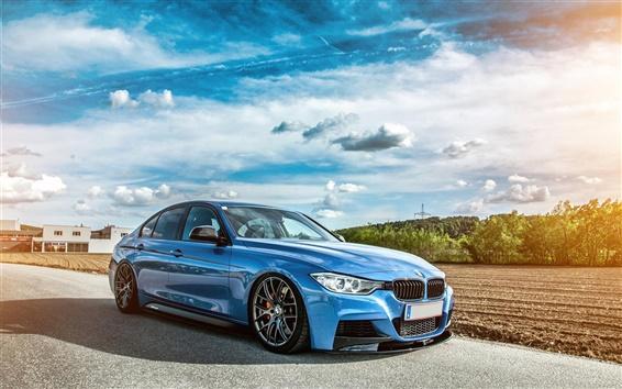 Обои BMW F30 335i синий автомобиль