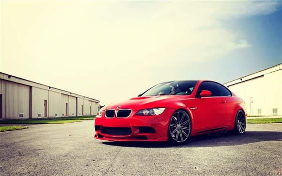 Wallpaper BMW M3 E92 red car at sunny day