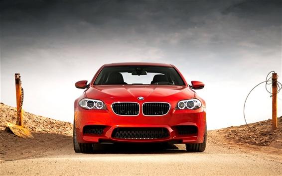 Papéis de Parede BMW M5 F10 vista frontal do carro vermelho