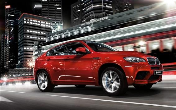 Fond d'écran BMW X6 SUV rouge, nuit, la vitesse, ville