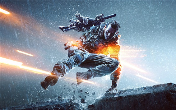 Wallpaper Battlefield 4, rain, soldier, gun
