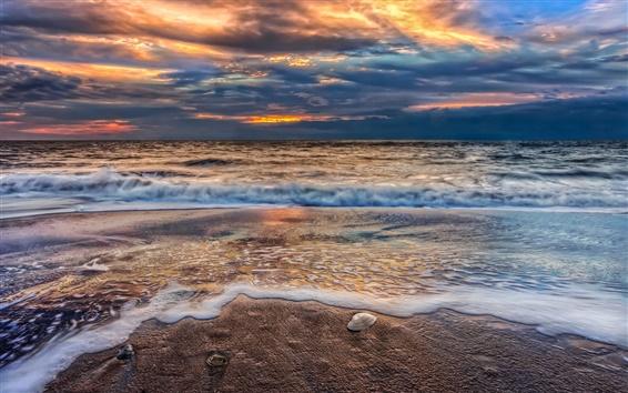Wallpaper Beach, sunset, sky, clouds, sand, nature, sea, ocean, waves