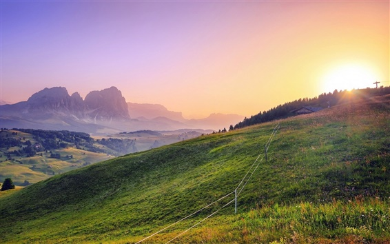 Wallpaper Beautiful landscape, sunlight, mountains, grass