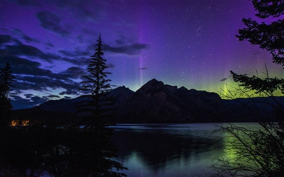 Wallpaper Beautiful night, Banff National Park, Alberta, Canada, lake, northern lights