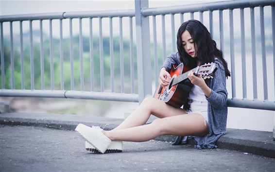 Wallpaper Black hair girl, guitar, music, roadside